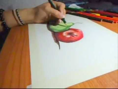 Pera y manzana color,. Dibujar - YouTube