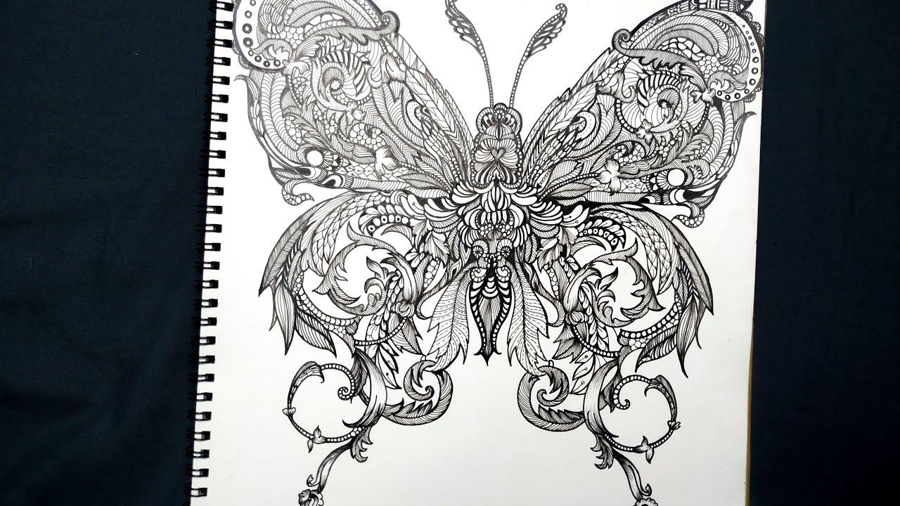 Dành hơn 5 tiếng để cách điệu con bướm| 019 Doodle Art Creative