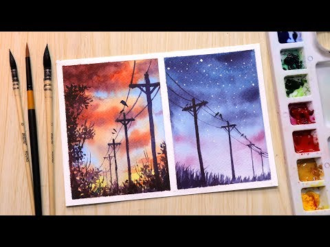 Watercolor painting for beginners sunset and evening landscape easy