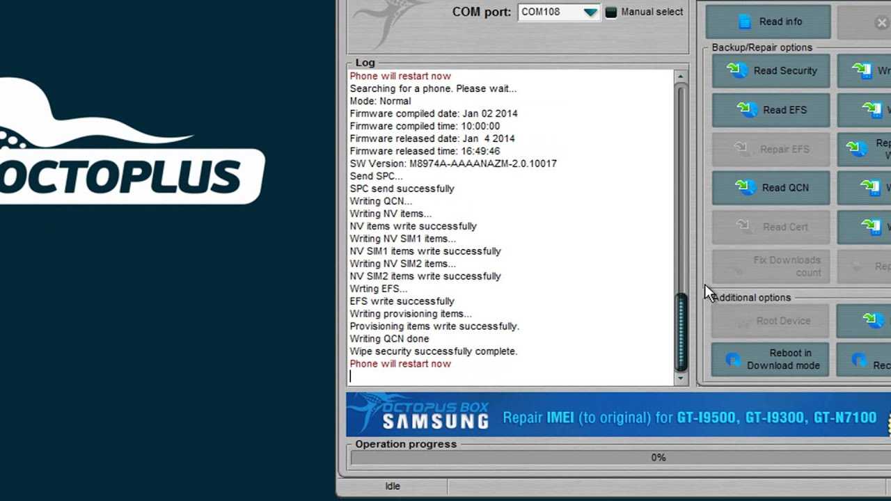 Samsung SM-N900A Unlock and Repair IMEI with Octoplus Box