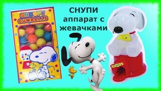Веселый СНУПИ - аппарат с жевачками ∪^ェ^∪ Снупи собака