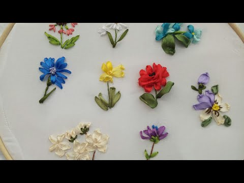 342-Ribbon Embroidery Flowers /Hand Stiches Tutorial For Beginner(Part 01)