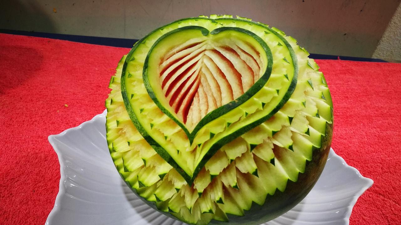 Watermelon carving flower fruit art cutting design