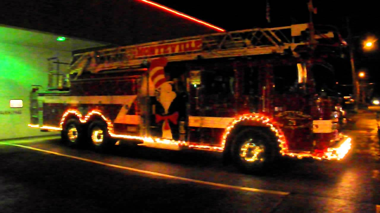 Fire Truck with Christmas lights - YouTube