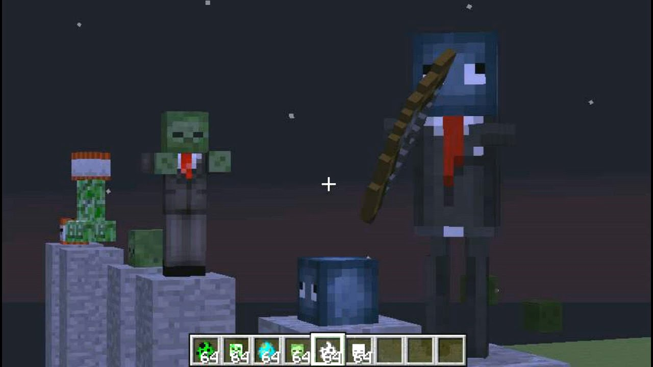 Minecraft How To Change Mobs Skin Creeper Zombie And Skeleton - Zombey skin fur minecraft pe