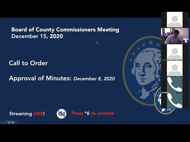 Washington County Board of County Commissioner's Meeting 12/15/2020
