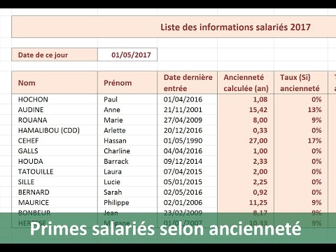 calculs de primes selon anciennet avec excel youtube. Black Bedroom Furniture Sets. Home Design Ideas