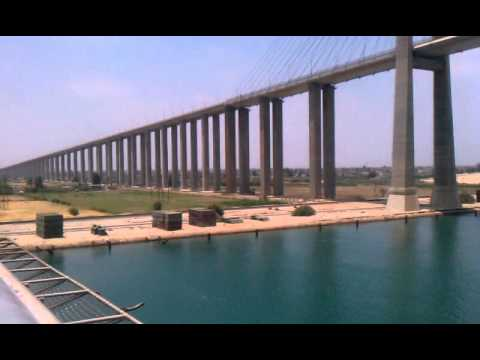 Suez Canal Bridge from the bow of the USS Dwight D. Eisenhower.