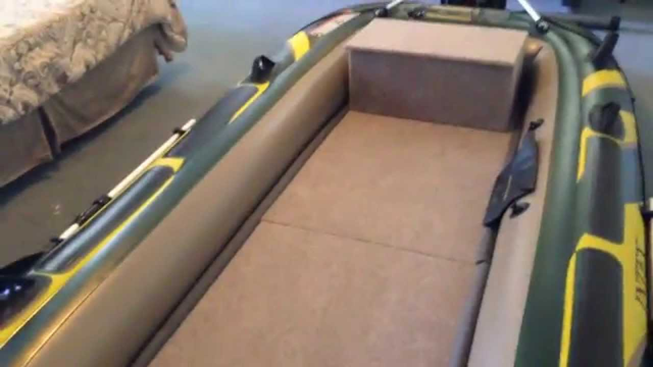 Intex Seahawk 4 Wood Floor/Bench Seat Finished - YouTube