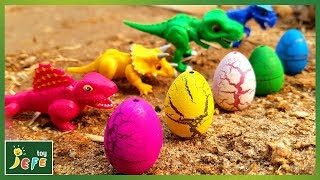 Look for Dinosaur Eggs Outdoors. Whose egg is it? Dino Mecard Videos for KidsㅣJefeToy