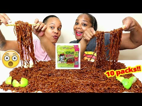SPICY NUCLEAR BLACK BEAN NOODLES CHALLENGE MUKBANG 10 PACKS