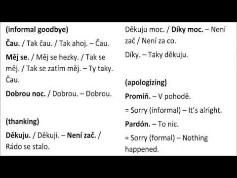 Czech language lesson 5 (A1)