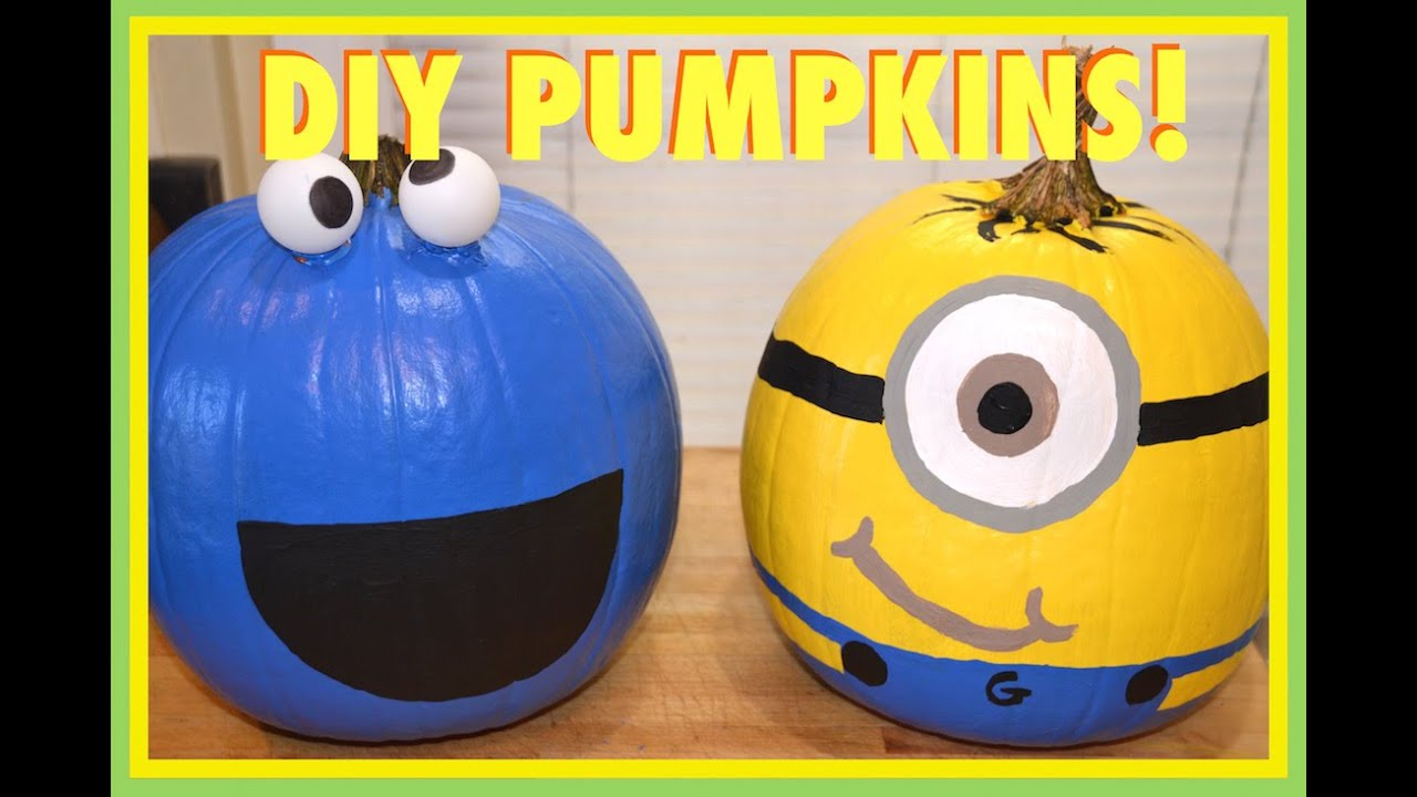 Painted Minion Pumpkins Minion Cookie Monster Pumpkins Vlogtober Day 7 Youtube