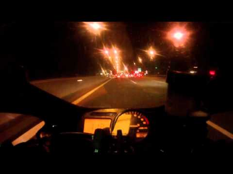 Honda CBR 954RR Fireblade ride - Chalkida to Athens at night with traffic