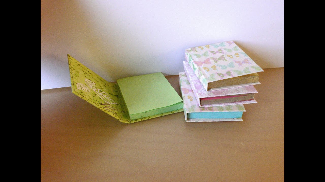 How To Make A Book Holder Out Of Cardboard ~ Diy sticky note books youtube