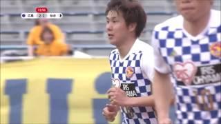三田 啓貴(仙台)のフリーキックがバーをかすりながらゴールに吸い込ま...