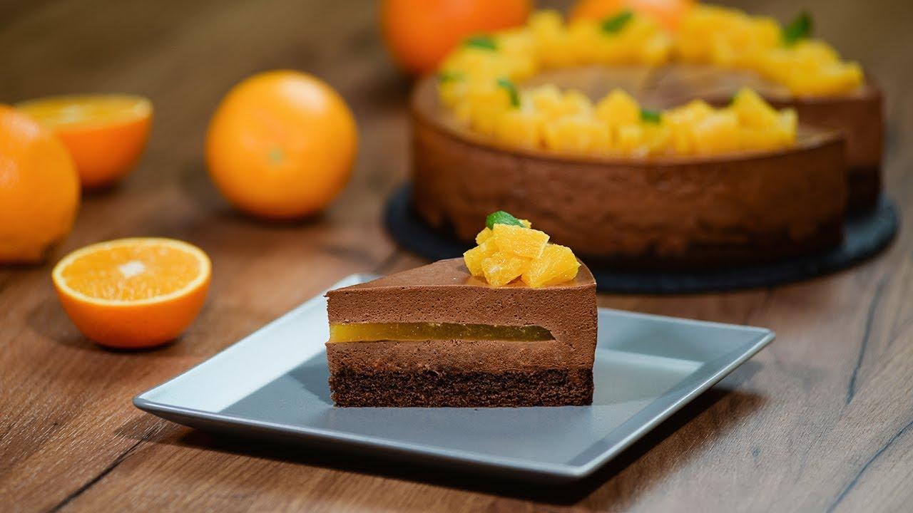 Апельсиновое желе с шоколадным муссом