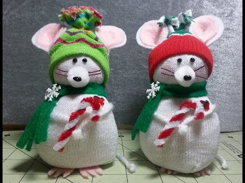DIY~Adorable Christmas Mouse Made From Child's D.T. Sock! EASY NO-SEW!