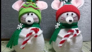 DIY~Adorable Christmas Mouse Made From  D.T. Sock! EASY NOSEW!