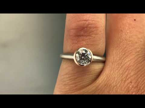 6mm round gray Moissanite Mixed Metal Engagement Ring, Rose Gold Bezel, Palladium shank