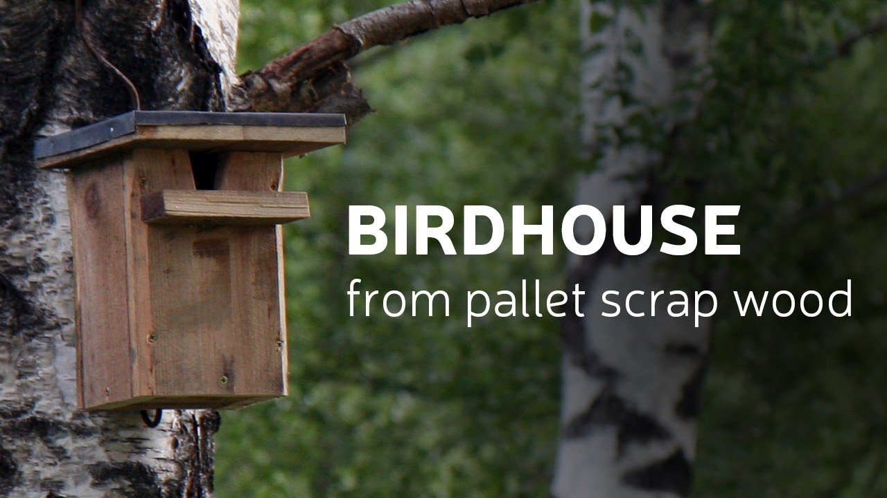 Diy birdhouse from pallet scrap wood youtube for How do i build a birdhouse