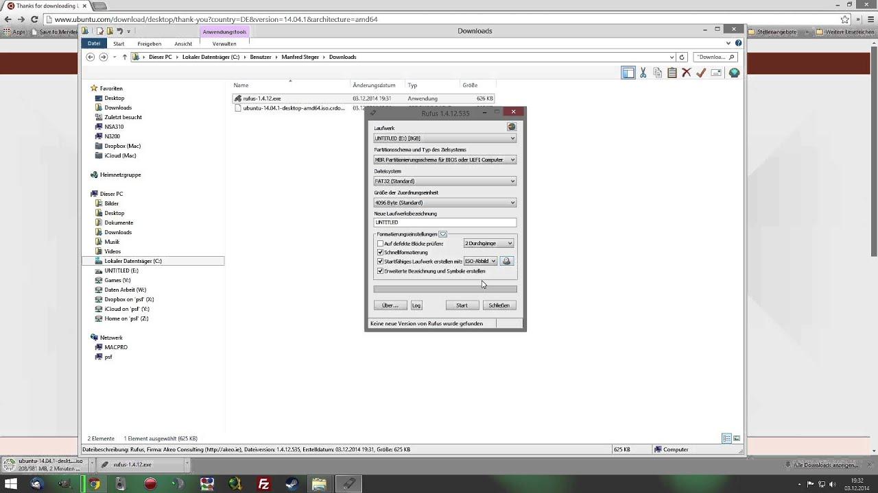 Ubuntu USB-Stick Installation unter Windows mit Rufus