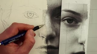 How to Draw a Female Face Using a Photograph: Square by Square