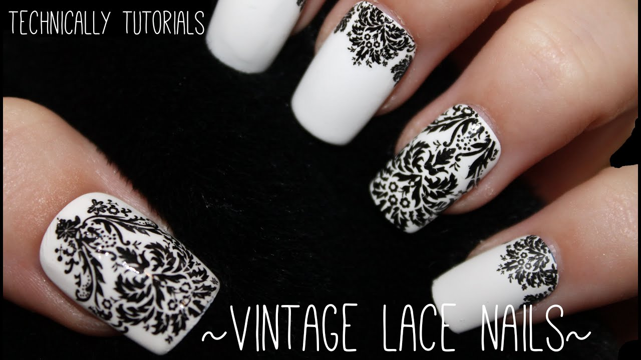 Easy Vintage Lace Nails Technically Tutorials Youtube