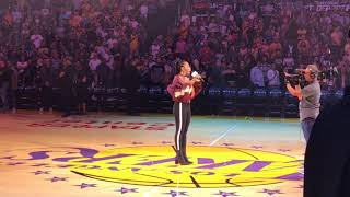 Jessica Reynoso sings US National Anthem at the Lakers game