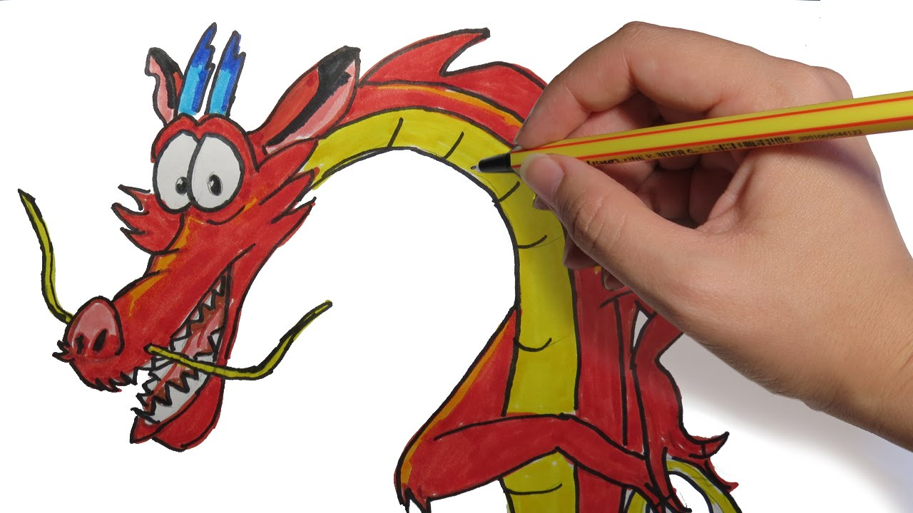 COMO DIBUJAR UN DRAGON CHINO: Mushu de Mulan paso a paso - YouTube