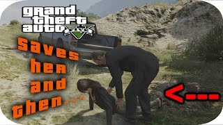GTA V - Trevor saves a girl and then...