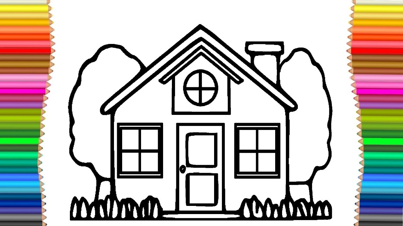 House Drawing Coloring Pages For Kids Learning And Youtube Videos Babies