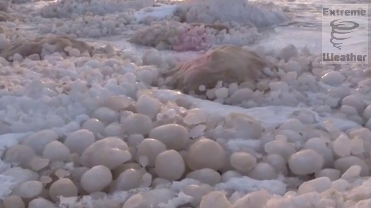 Thousands of ice balls on Michigan beach