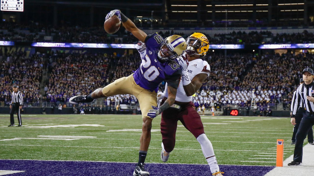 UW football's Kevin King's one-handed endzone interception ...