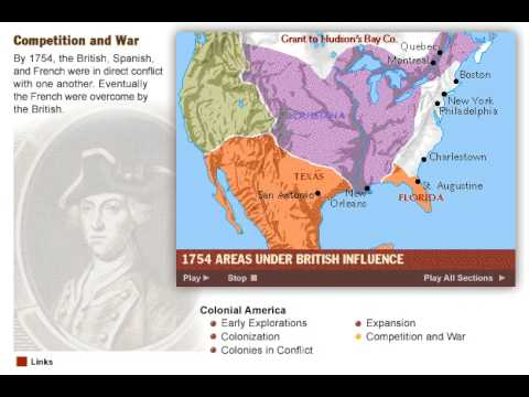 History of the Colonization of America  Map