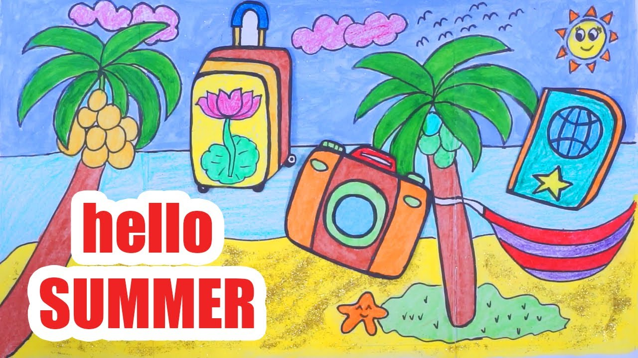 HOT SUMMER THEME and VACATION - Draw and Coloring the Things to Prepare for  Holiday