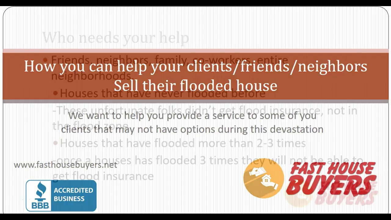 how to help sell flood house