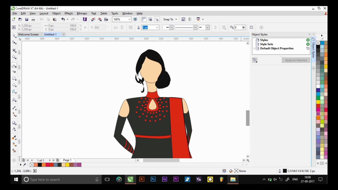 How To Make A Perfect Dress Design In Corel Draw Without Any Paid Or Free Plugin Youtube