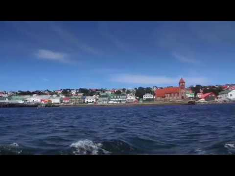 Stanley---The capital of the Falkland Islands (UK) seen from the harbour