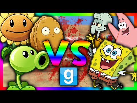 PLANTS VS SPONGEBOB!!! | Gmod Sandbox (Spongebob Mod, Plants vs Zombies mod)