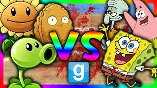 PLANTS VS SPONGEBOB!!!   Gmod Sandbox (Spongebob Mod, Plants vs Zombies mod)