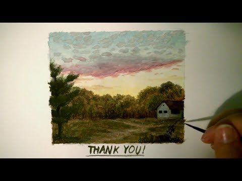 Gouache Landscape Speed Painting 4 Sunset