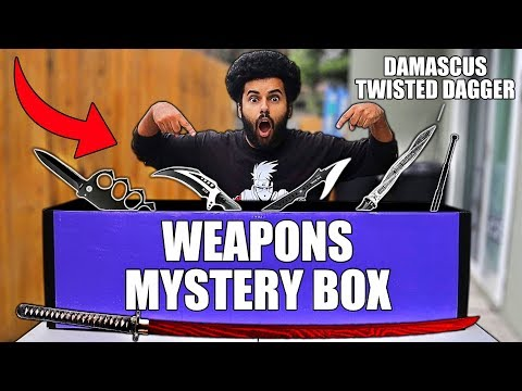 Someone Sent Me A GIANT Box Of MYSTERY WEAPONS!! (T-REX CLAW KARAMBIT)
