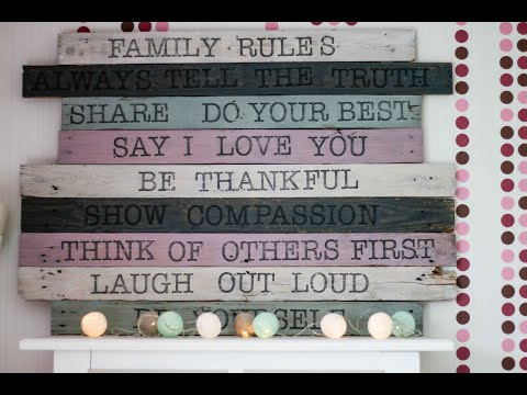 DIY Paletten Schild: Family Rules