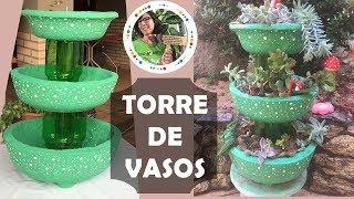 Torre de Vasos Feitos com Cimento e Isopor