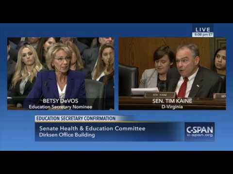 Tim Kaine Questions Betsy DeVos, Senate Confirmation Hearing, 1/17/17