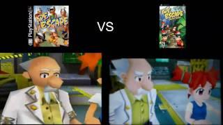 Ape Escape ps1 vs Ape escape on the loose psp side by side comparison
