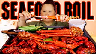 SEAFOOD BOIL MUKBANG 먹방 (I FINISHED ALL MY FOOD) CRAB LEGS + CRAWFISH + SNOW CRAB LEGS EATING SHOW!