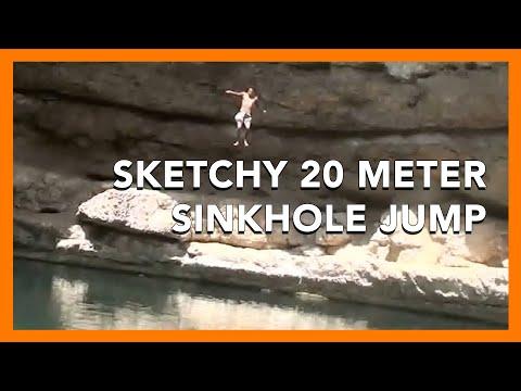 HOLY FKKING SHTT Cliff Jumping In Oman Sinkhole, 65 Ft  OMG!!! Take 1