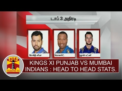IPL 2017 : Kings XI Punjab vs Mumbai Indians head to head stats | Thanthi TV